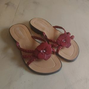 Womens Expressions Red Leather Strap Sandals